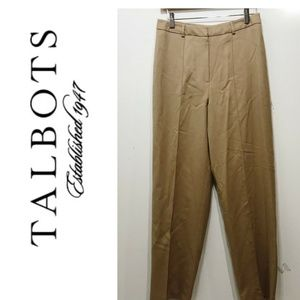 Talbots Size 6 Wool Pants Solid Beige Lined Flat
